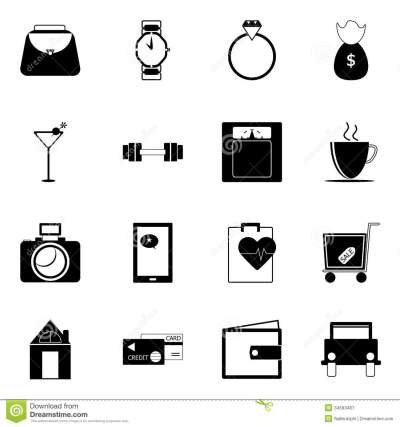 Adult Lifestyle Icons On White Background Stock Vector ...