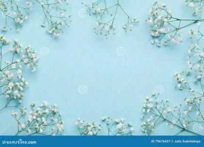Cadre De Fleur De Mariage Sur Le Fond Bleu D'en Haut Belle Configuration Florale Style Plat De ...