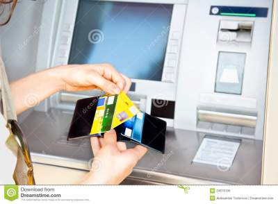 Cash Withdrawal With Visa Card Stock Photo - Image: 24670190