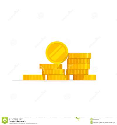 Coins Stack Vector Illustration, Icon Flat, Pile Money Isolated Stock Vector - Illustration of ...