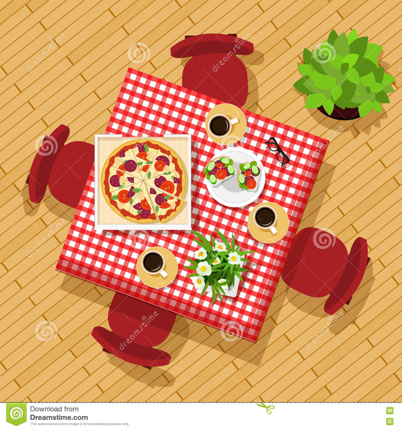 dining table top view stylish graphic set table chairs cups dishes flowers beautiful kitchen table vector illustration 80322412