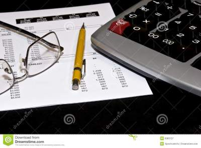 Financial Statement And Tools Royalty Free Stock Photography - Image: 8383137