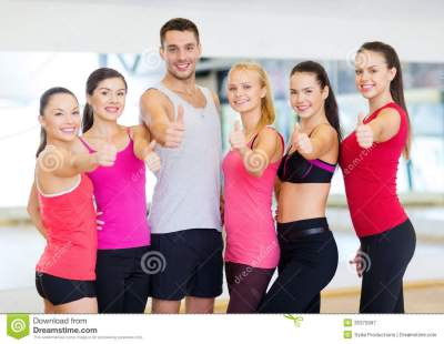 Group Of People In The Gym Showing Thumbs Up Royalty Free ...