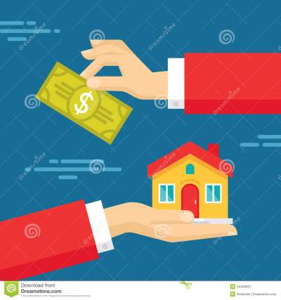 Human Hands With Dollar Money And House. Flat Style Concept Design Illustration Stock Vector ...