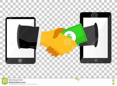 Illustration For Legal Business Agreement Via Mobile Phone, At Transparent Background Stock ...