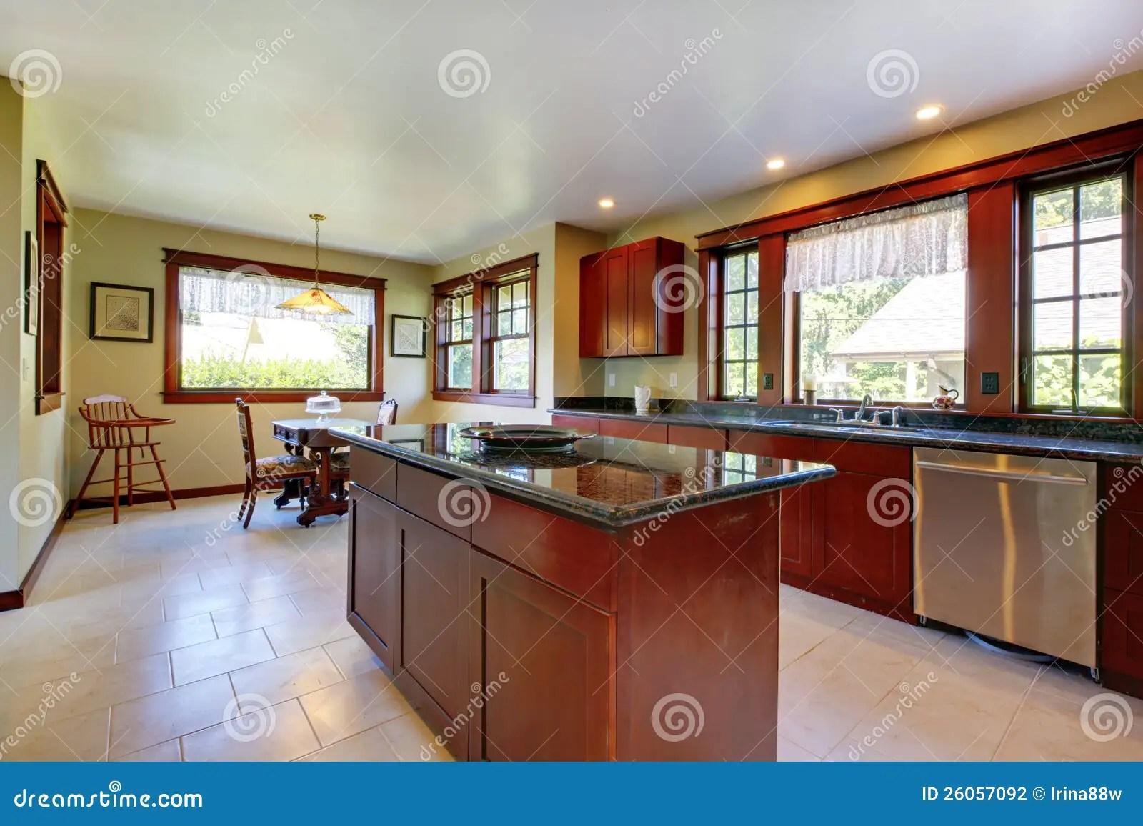 stock photography kitchen island dark wood floor image wood floor in kitchen Kitchen with island and dark wood floor
