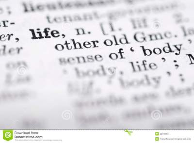 Life; Definition In English Dictionary. Stock Image ...