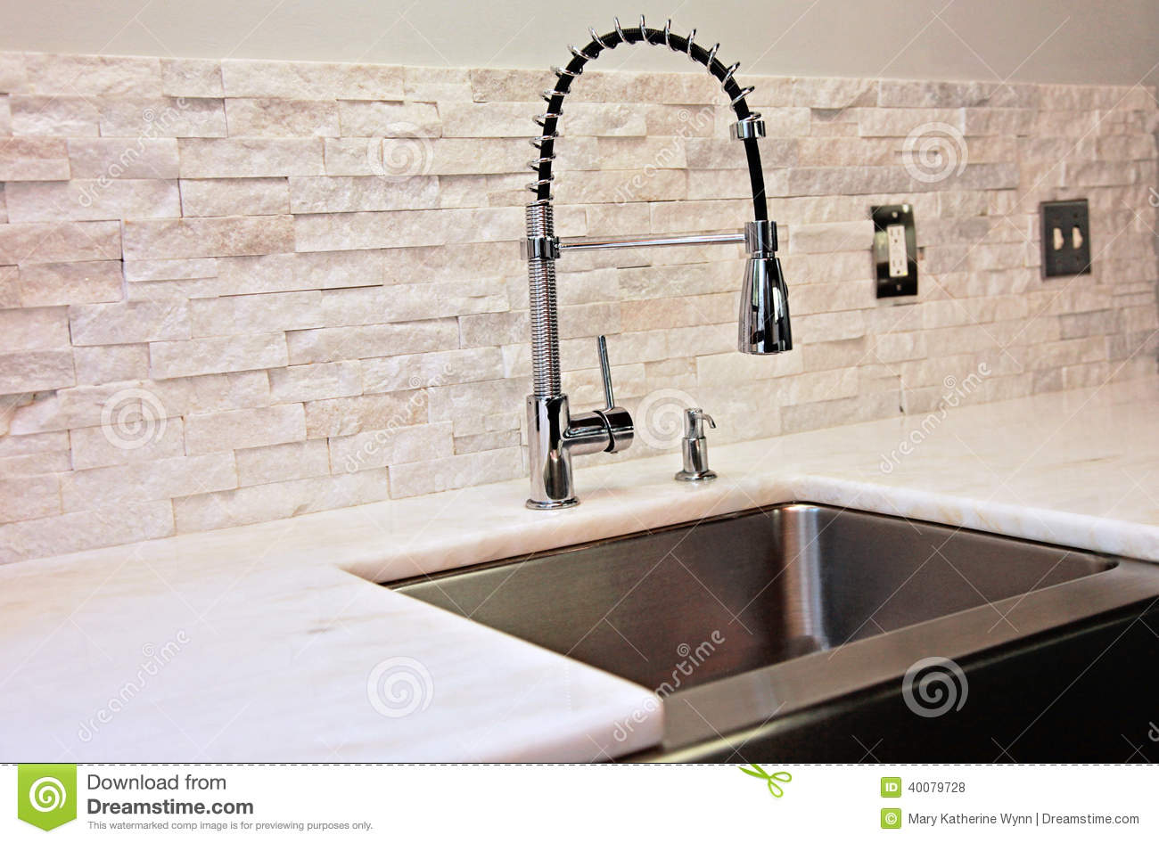 modern kitchen detail sink marble counter stacked stone back splash industrial spray faucet 40079728