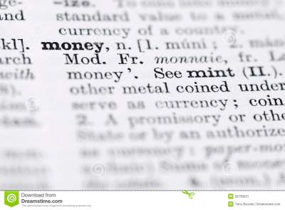 Money; Definition In English Dictionary. Stock Image - Image: 22739531