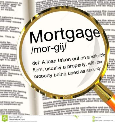 Mortgage Definition Magnifier Showing Property Or Real Estate Lo Royalty-Free Stock Photography ...