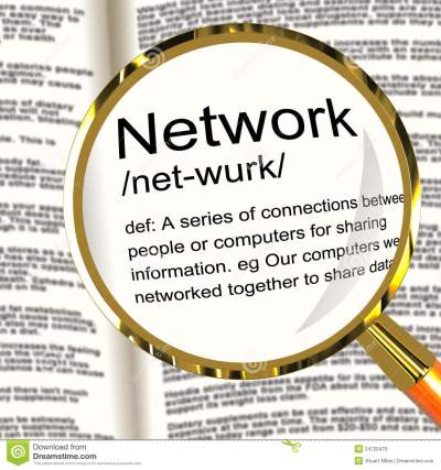 Network Definition Magnifier Showing System Of Computers Or Peop Stock Illustration ...
