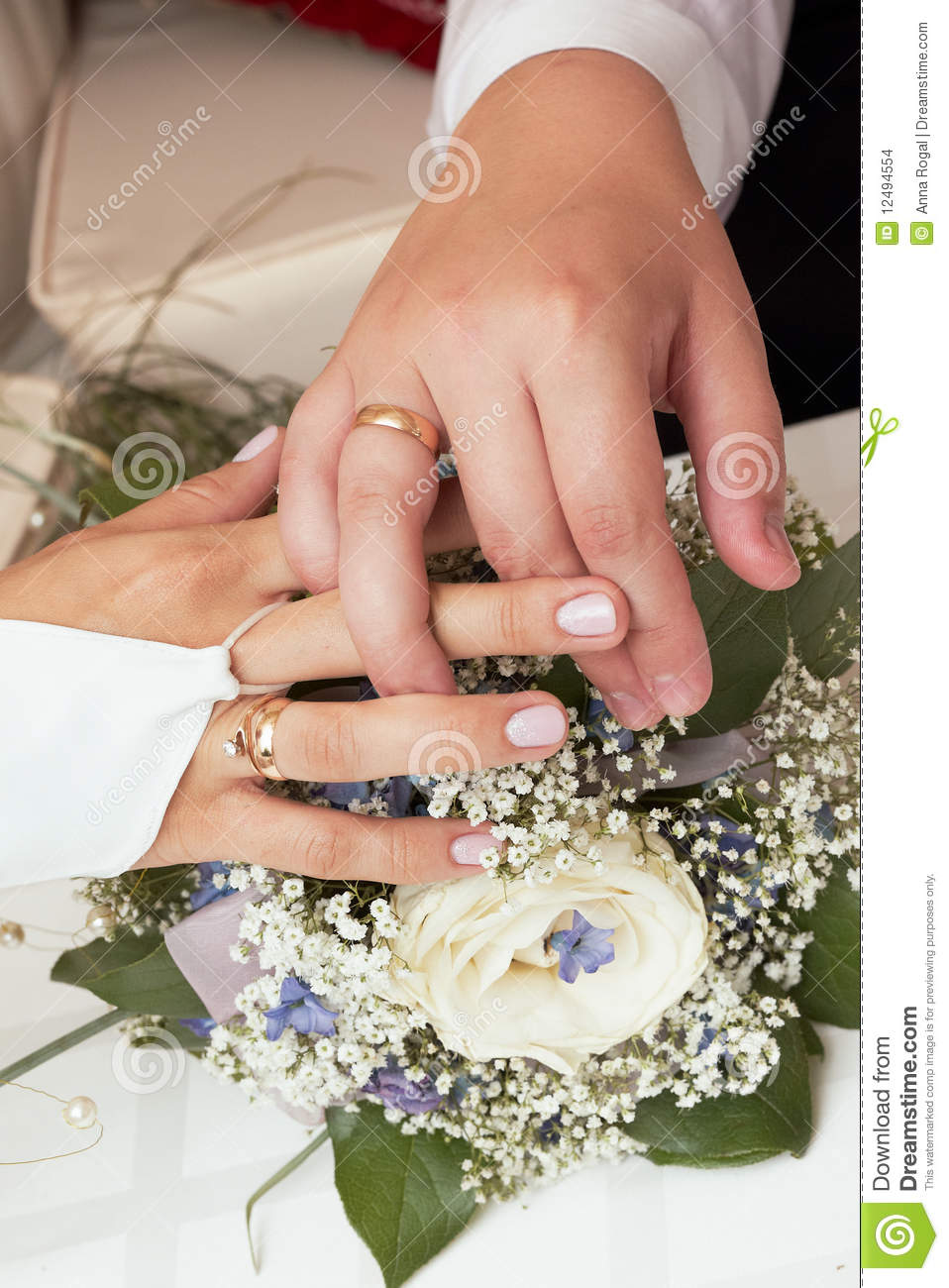 stock images newly married couple showing wedding rings image couples wedding bands Newly married couple showing wedding rings