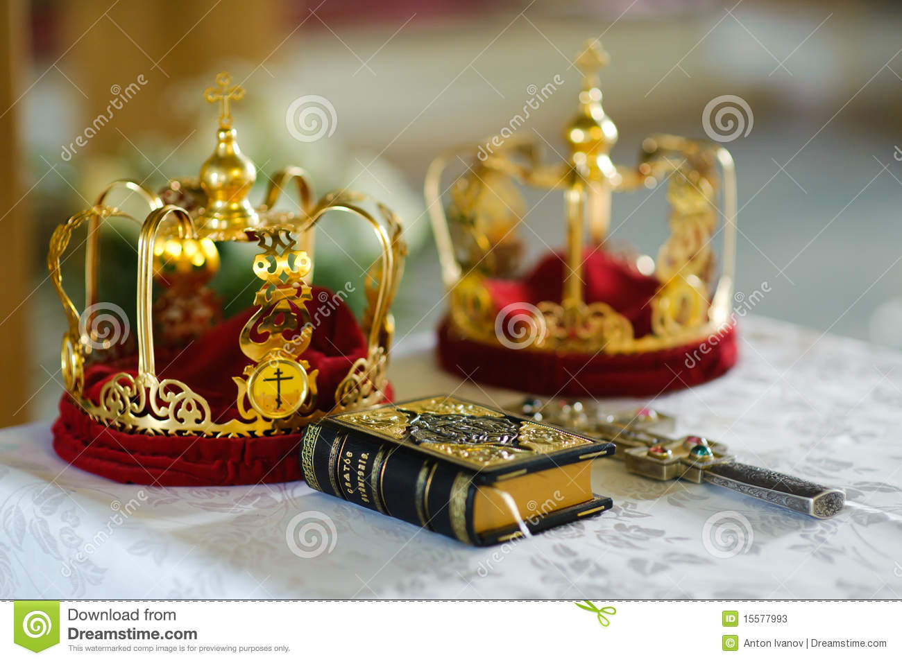 stock photo orthodox wedding crowns cross glass wine church image wedding crowns Orthodox wedding crowns gospel and cross Stock Photos