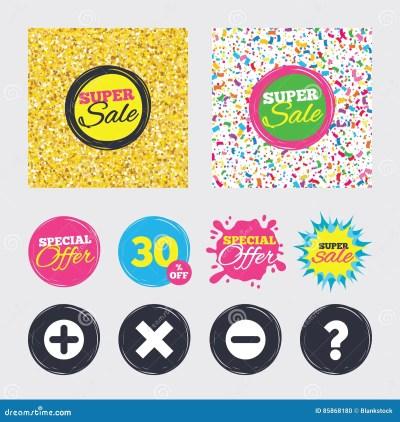 Plus And Minus Icons. Question FAQ Symbol. Cartoon Vector   CartoonDealer.com #92773535