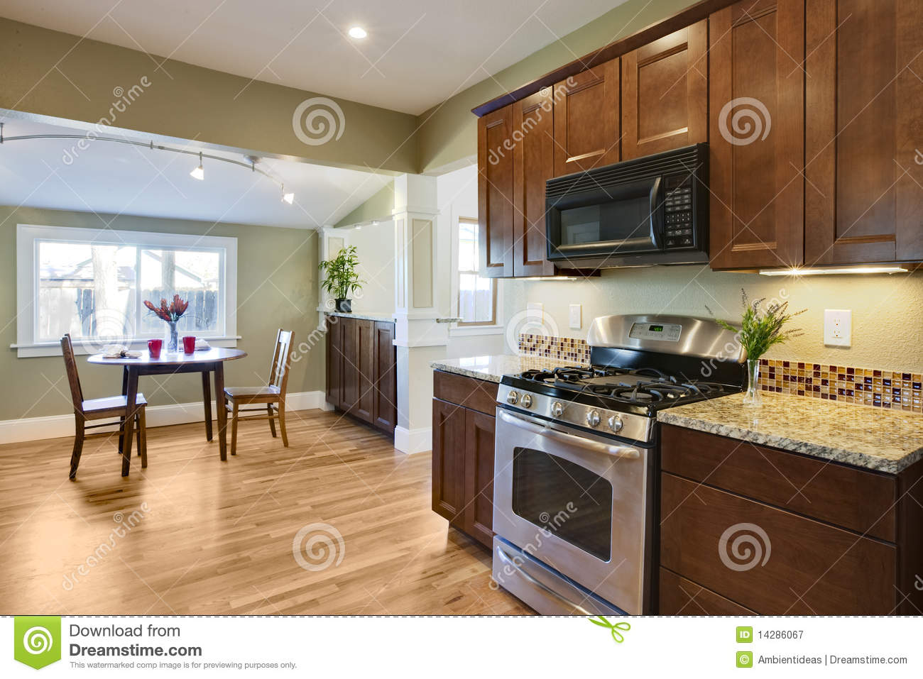 royalty free stock photography remodel kitchen wood flooring image wood floor in kitchen Remodel kitchen with wood flooring