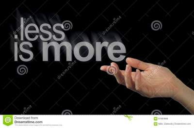 Sharing A Less Is More Philosophy Stock Photo - Image of phrase, contented: 61903688