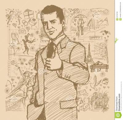 Sketch Man Shows Well Done Against Love Story Background Stock Vector - Image: 64752100