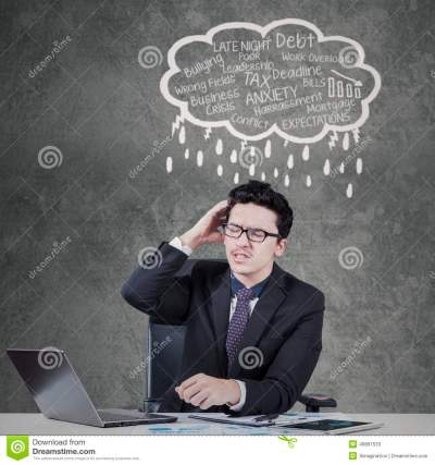 Stressful Worker With Job Problems Stock Image - Image of difficult, computer: 49891533