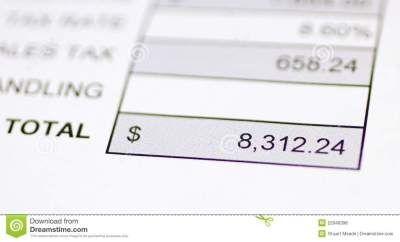 Total money due stock photo. Image of receipt, billing - 22946398
