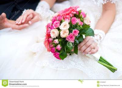 Wedding Bouquet With Pink Flowers Stock Image - Image of ...