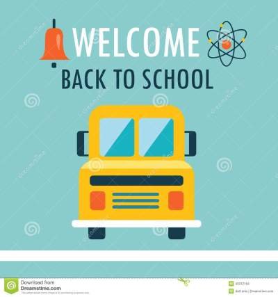 Welcome Back To School Background Flat Design Template With Book And Schoolbus Stock ...