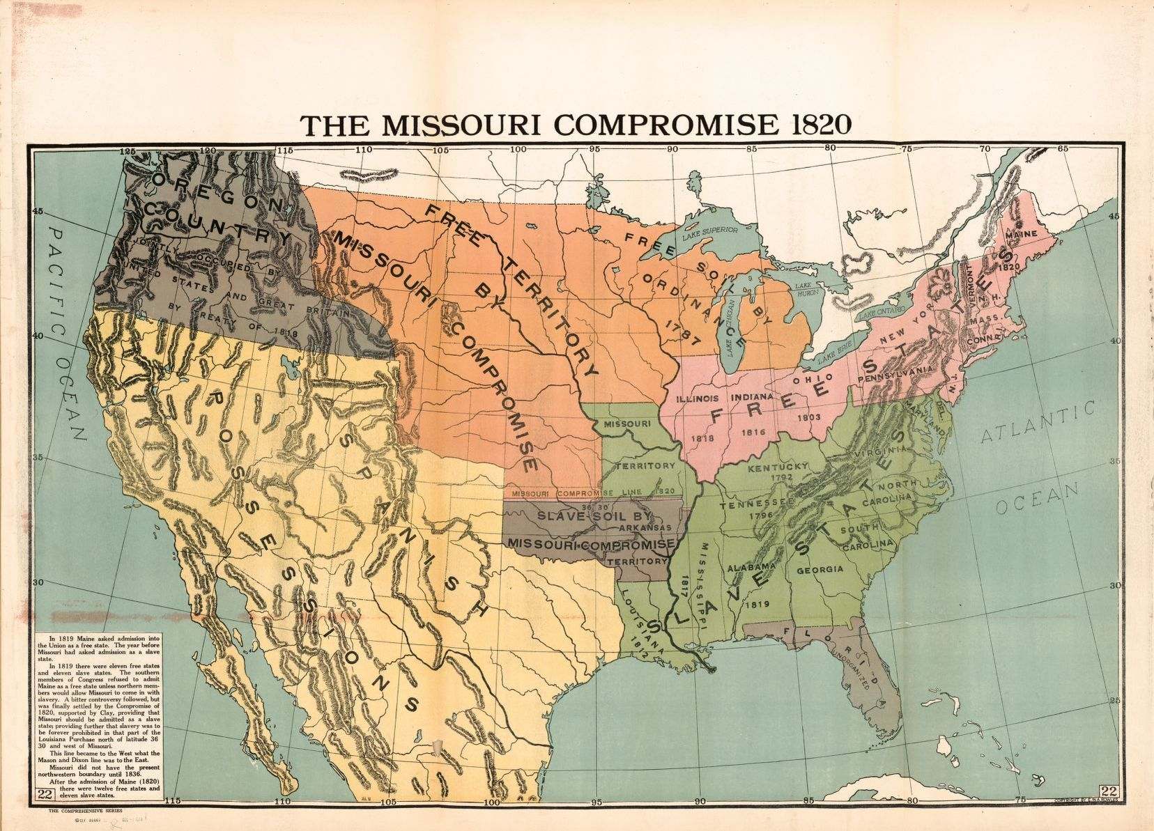 The Missouri Compromise 1820   Library of Congress Map The Missouri Compromise 1820 Full Set