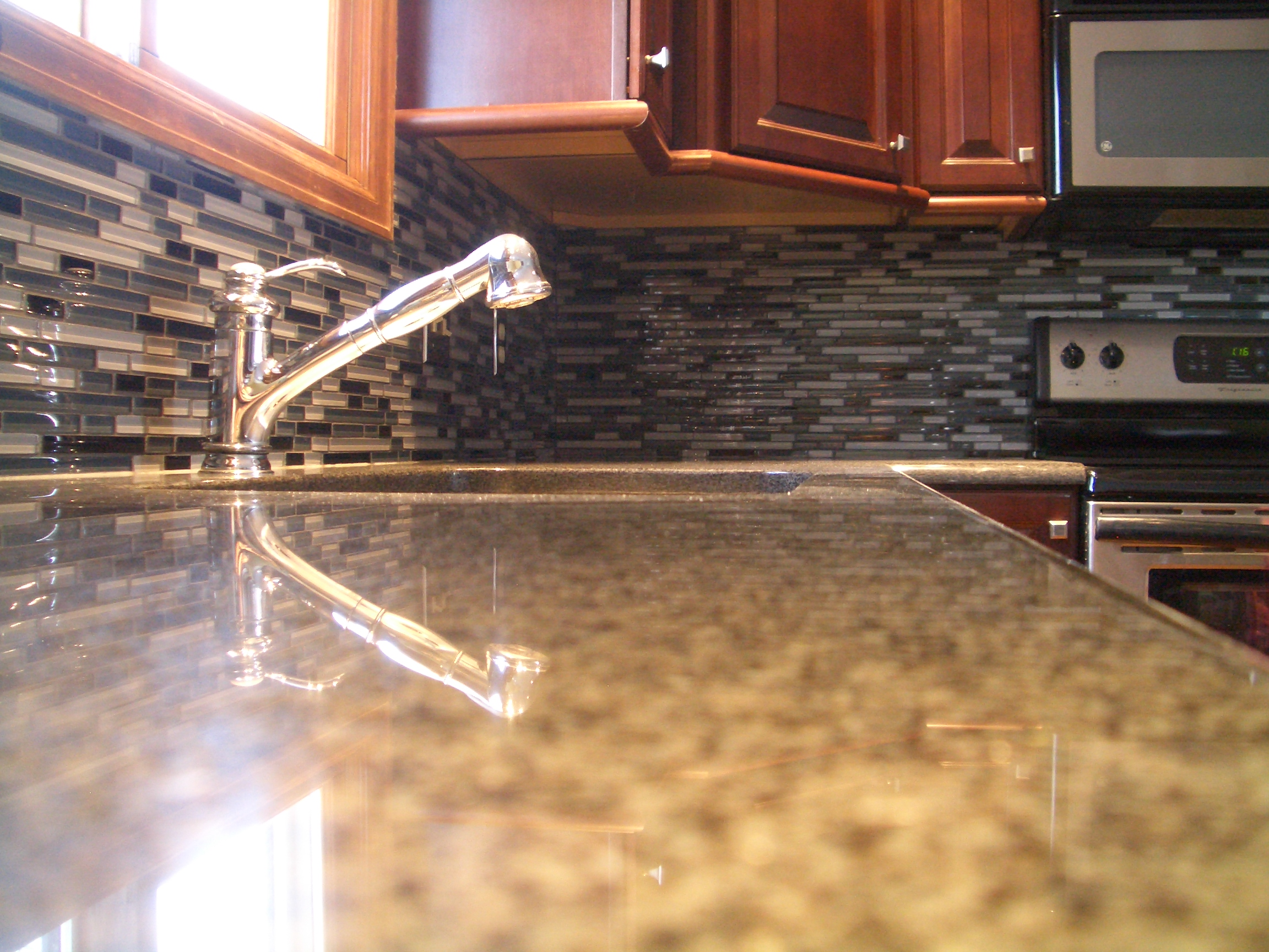 glass tile kitchen backsplash special glass kitchen backsplash Grey stack glass tile backsplash