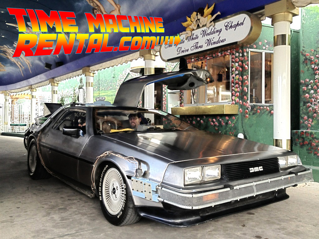 las vegas wedding in time machine rental vegas wedding chapels The DeLorean Time Machine from Back to the Future gets rented for all sorts of events