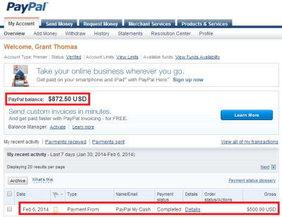 Load PayPal My Cash Cards to your PayPal Account