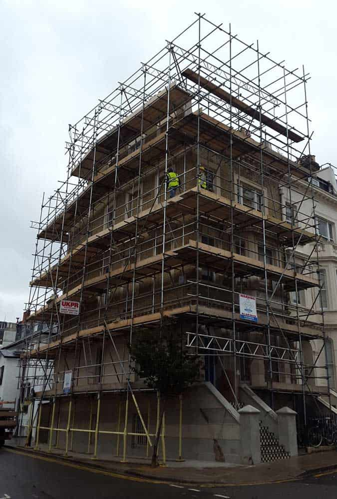 Scaffolding erected by UK PR Scaffolding for a residential customer in Sutton SM1, London, UK.