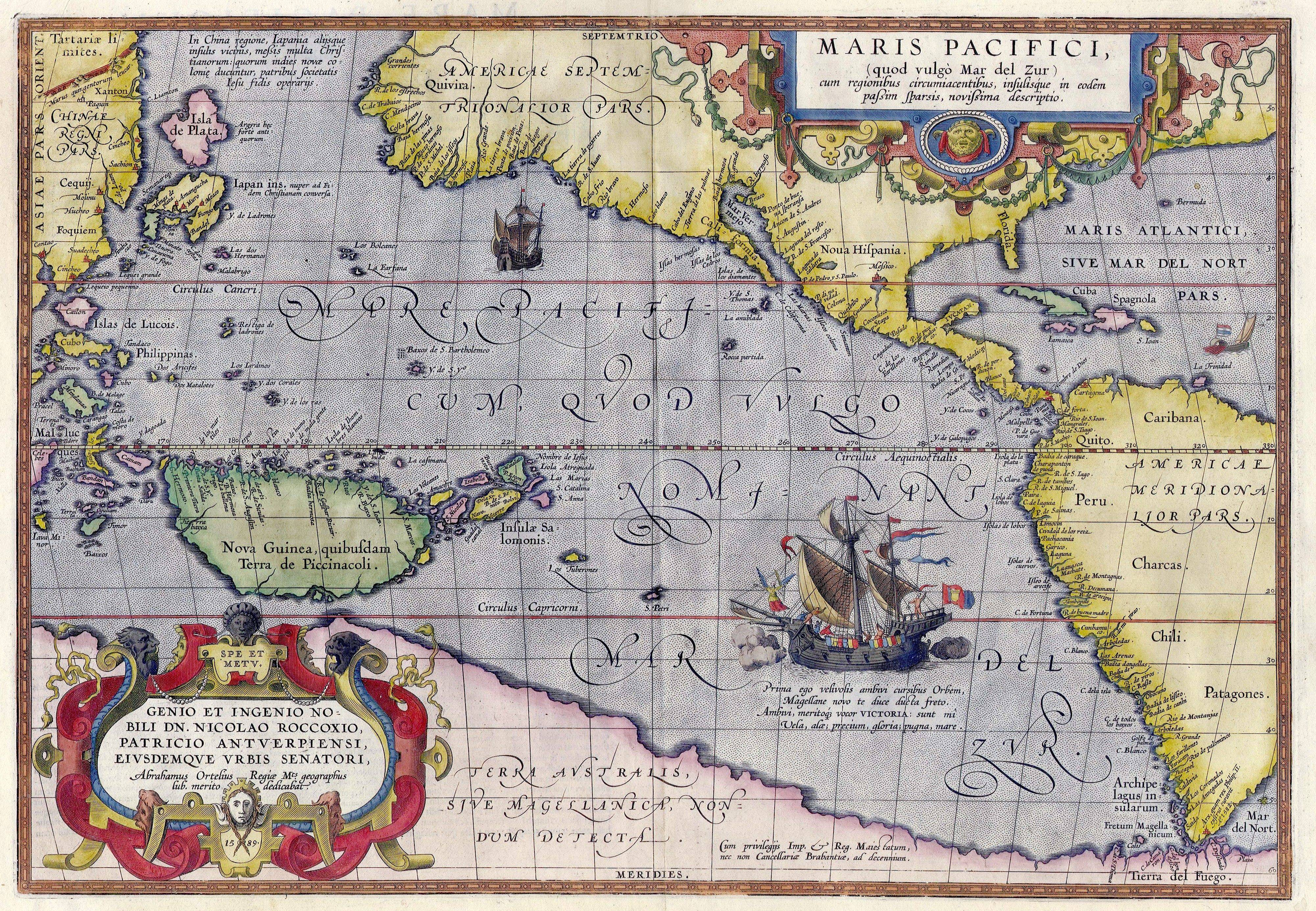 Pacific Ocean   Wikipedia Maris Pacifici by Ortelius  1589   One of the first printed maps to show the  Pacific Ocean