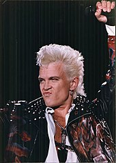 Billy Idol   Wikipedia Idol performing during the Cradle of Love Tour  1990