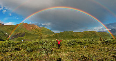 Rainbow   Wikipedia Double rainbow and supernumerary rainbows on the inside of the primary arc   The shadow of the photographer s head on the bottom marks the centre of the