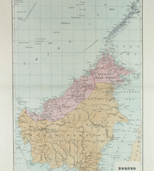 Borneo   Wikipedia Map of the island divided between the British and the Dutch  1898  The  present boundaries of Malaysia  Indonesia and Brunei are largely inherited  from the