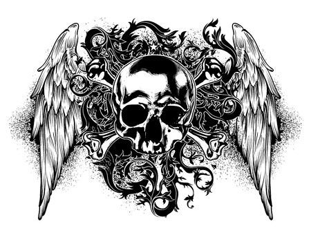 Skull Drawing Stock Photos  Royalty Free Skull Drawing Images decorative art background with human skull and wings