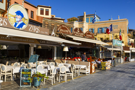 Restaurants In The Old Town Of Chania On Crete Island  Greece  Stock      79292101   Restaurants in the old town of Chania on Crete island  Greece