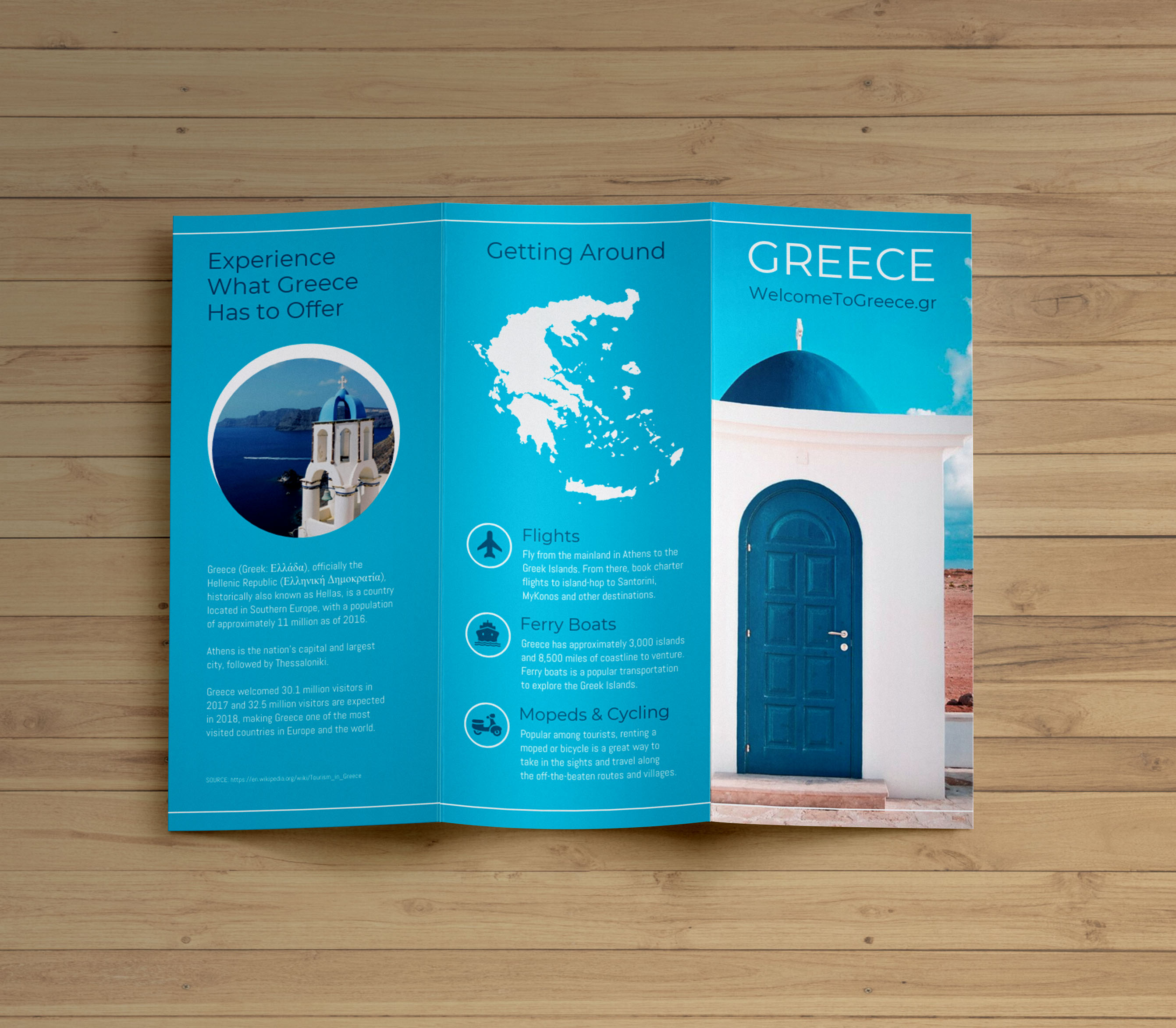 Creative Blue Greece Travel Trifold Brochure Idea    Venngage     Greece Travel Trifold Brochure Template 1