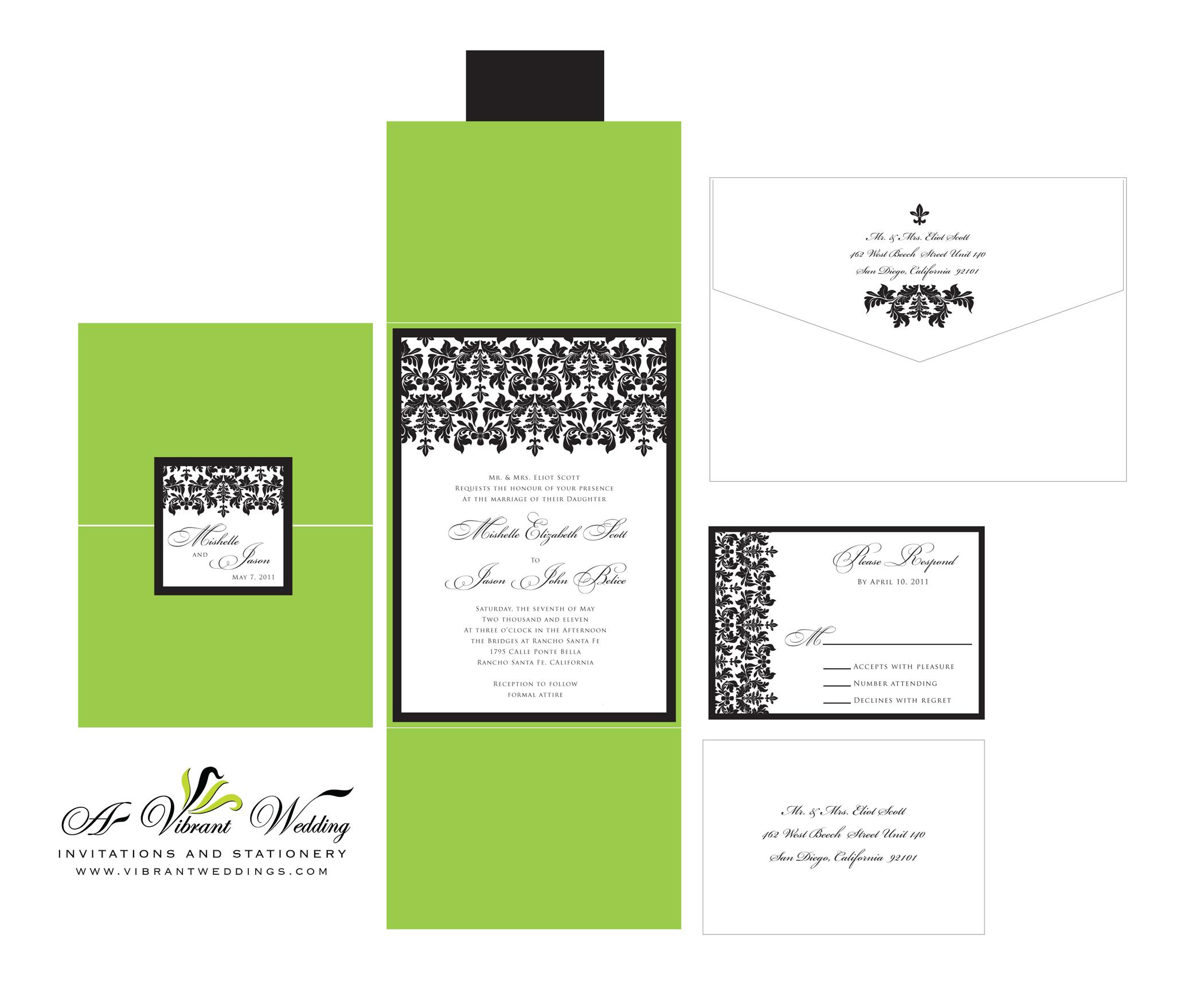 black damask wedding invitation damask wedding invitations Green Black Damask Wedding Invitation