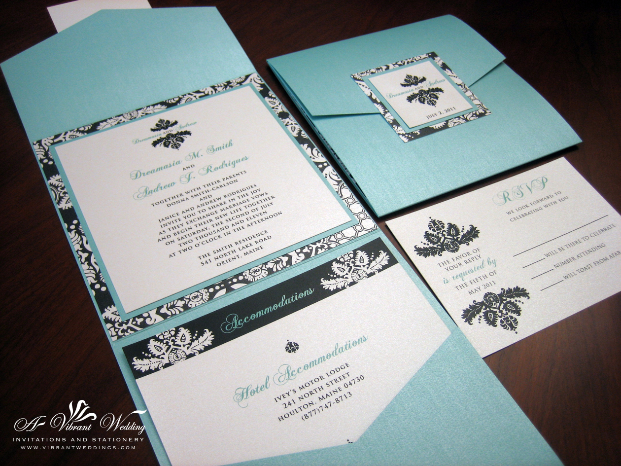 black damask wedding invitation damask wedding invitations Tiffany Blue Black Damask Pocket fold wedding invitation