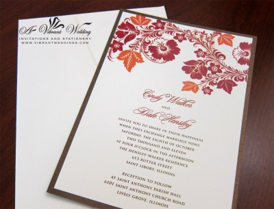 red and orange wedding invitation – A Vibrant Wedding