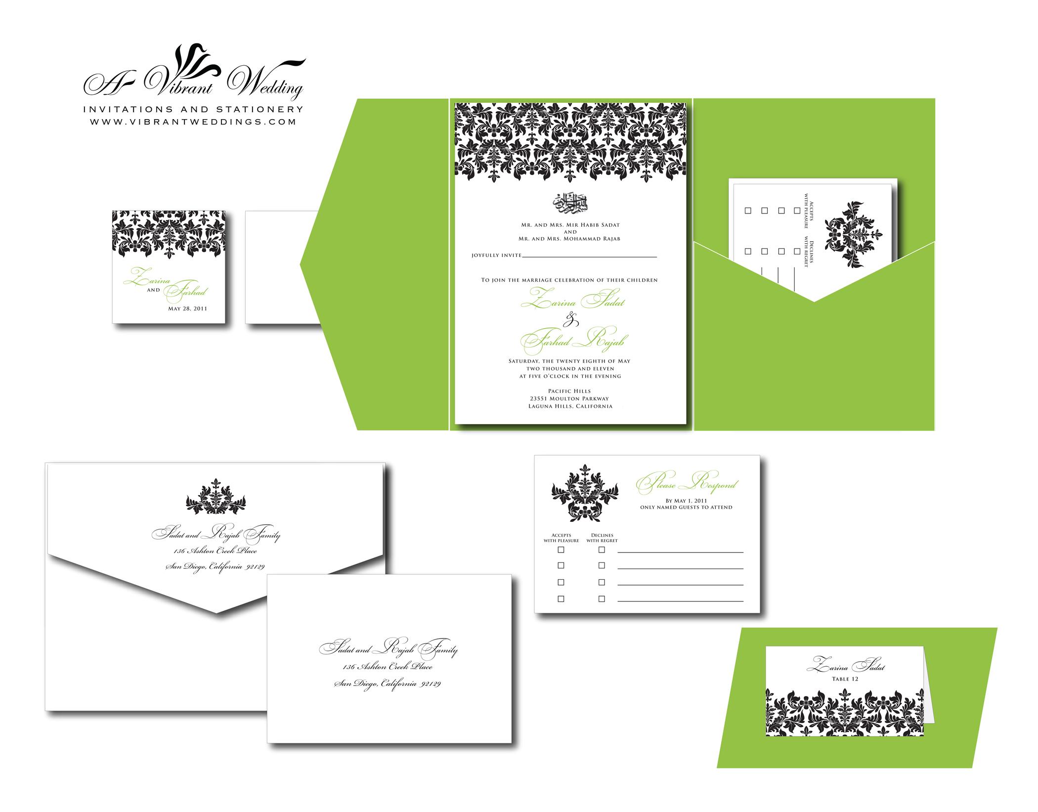 damask wedding invitation damask wedding invitations Green with Black Damask Wedding Invitation