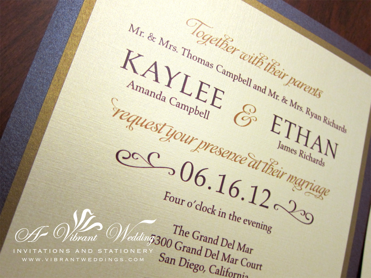 purple and gold wedding invitation purple and gold wedding Ruby Purple Gold Wedding Invitation Modern Contemporary Design