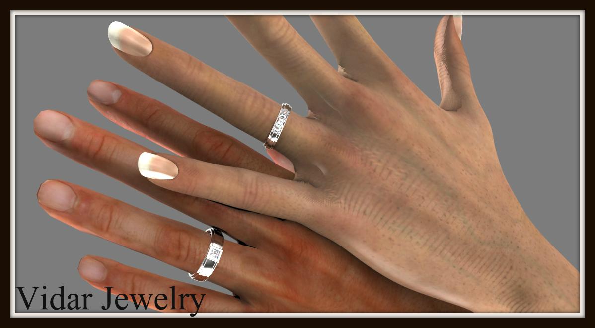 princess cut diamond wedding band set wedding bands sets Princess Cut Diamond Wedding Band Set