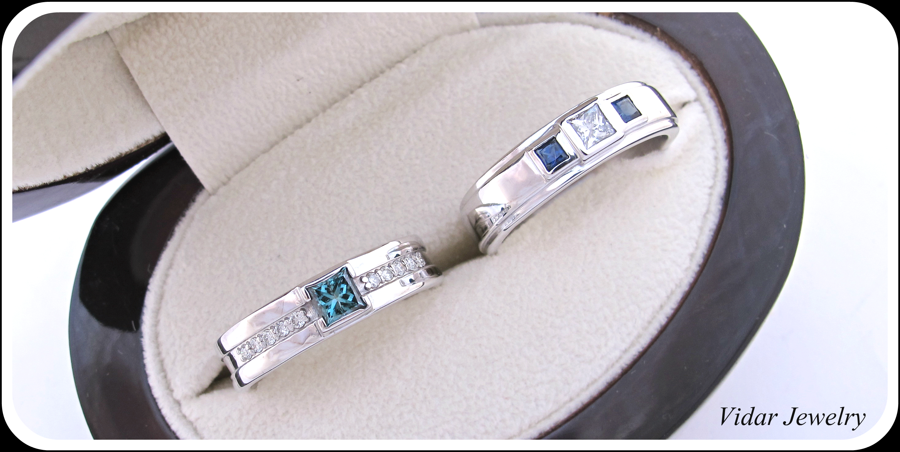 mens princess cut diamond wedding bands custom mens wedding bands Matching Blue Diamond Wedding Band Set