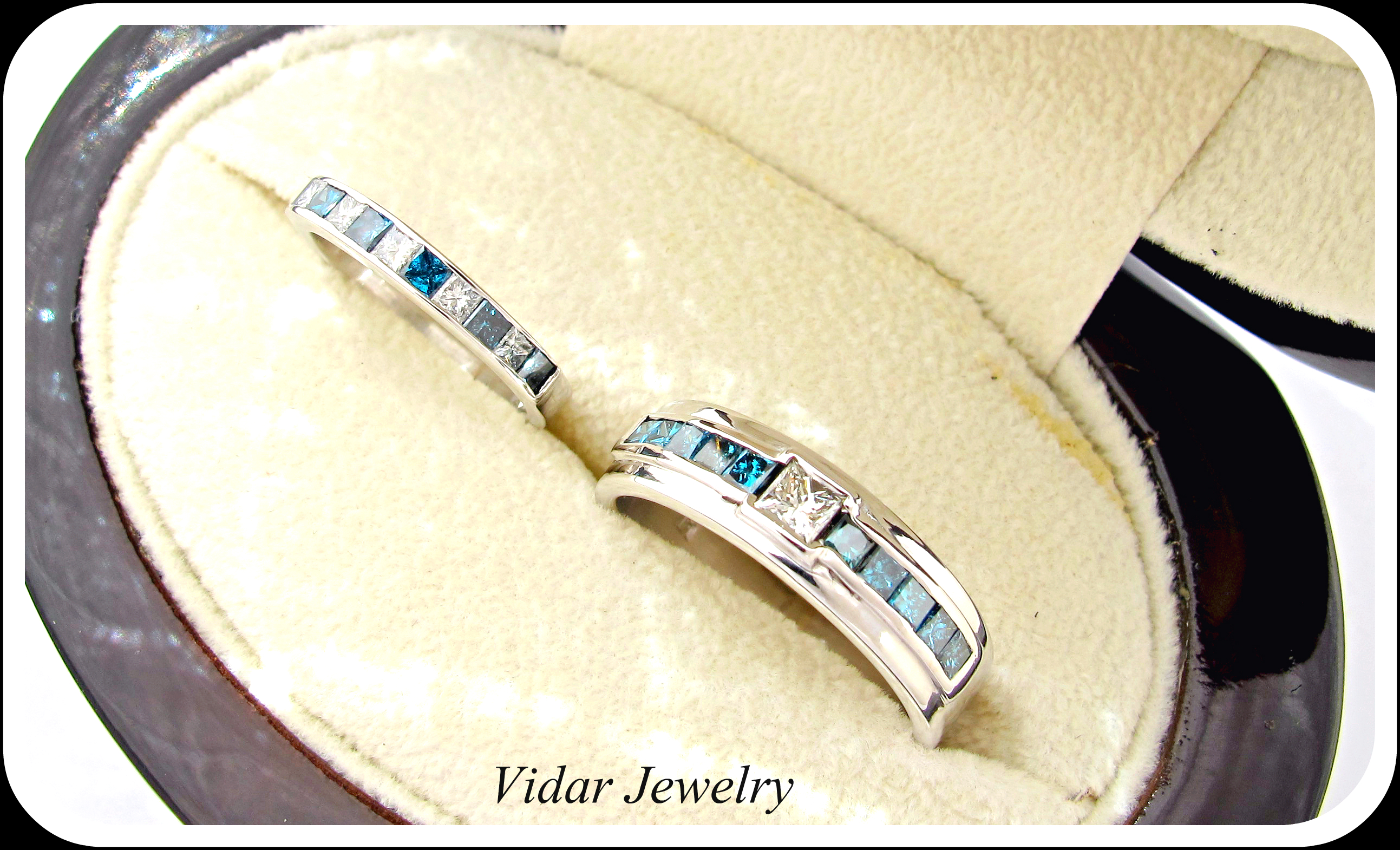 vidarjewelry matching wedding bands His And Her Princess Cut White And Blue Diamond Matching Wedding Bands