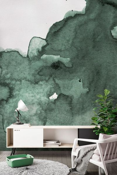 Living Room Wallpaper Inspiration : Wash away your worries with inky watercolor hues. This ...