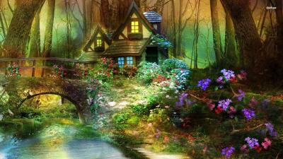 Enchanted Forest With Fairies Wallpaper