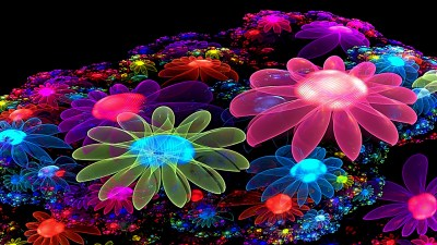 Neon Flowers Cool Wallpaper Wallpaper | WallpaperLepi