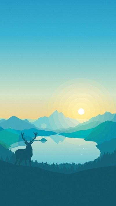 Wallpaper flat, forest, deer, 4k, 5k, iphone wallpaper, abstract, OS #11925