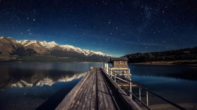 Wallpaper night sky, 5k, 4k wallpaper, stars, mountains, bridge, New Zealand, OS #547